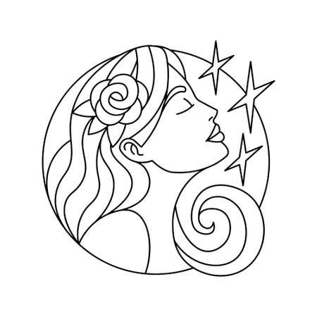 Isolated virgo symbol Western zodiac signs Vector illustration