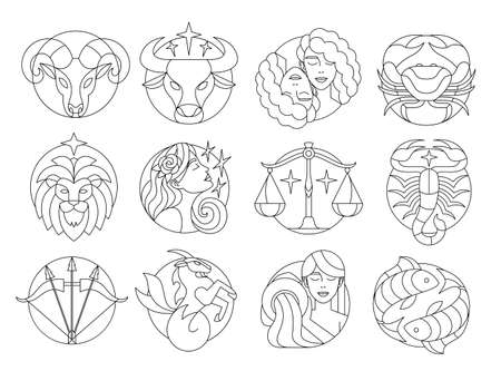 Set of traditional western zodiac signs Vector illustration 矢量图像
