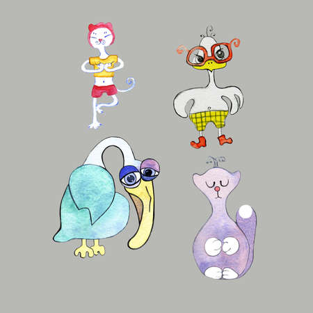 Set of cartoon animals: cat practicing yoga, sad pelican, angry chick in glasses, kitty princess. Can be used as stickers and elements for creativity.