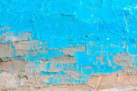 Blue oil painting, close up. Oily painting on canvas. Fragment. Textured painting. Abstract art background. Rough brushstrokes of paint. Reklamní fotografie