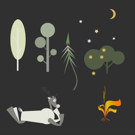 Set of vector forest trees with deer and bonfire.A deer lies by the fire.