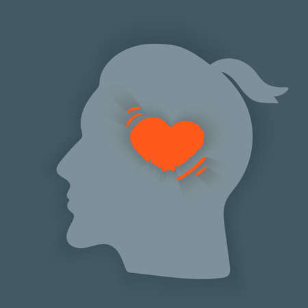 Throbbing headache.Headache icon. Abstract minimal illustration of young man with red throbbing heart in his head suffers from headache. Design template for medicine or therapy for headache.
