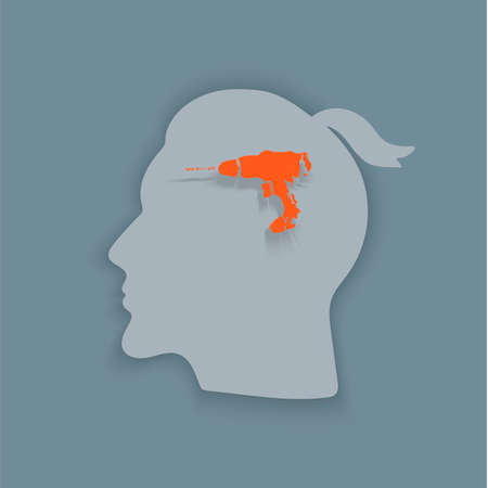 Boring headache.Headache icon. Abstract minimal illustration of young man with red drill in his head suffers from headache. Design template for medicine or therapy for headache.