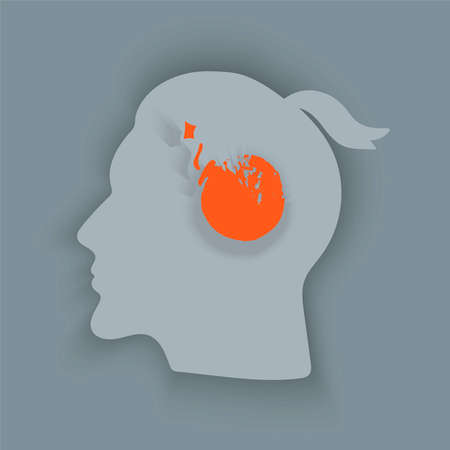 Tearing headache.Headache icon. Abstract minimal illustration of young man with red bomb in his head suffers from headache. Design template for medicine or therapy for headache.