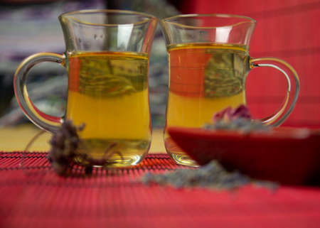 Herbal cold tea with lavender and oregano in glass cups on a yellow and red background.