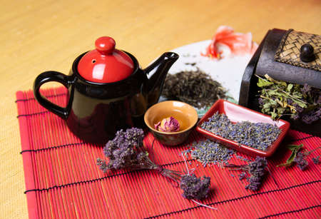 Herbal tea with lavender. Dried lavender flowers for tea. A mixture of herbs for tea.