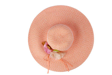 Pink Ladies Hat With Flower Top View Isolated on White Stock Photo