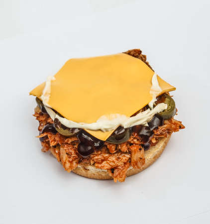 Burger without Top Bun Isolated