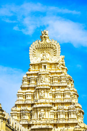 The top view of the upper portion of the temple with kalasa and blue background