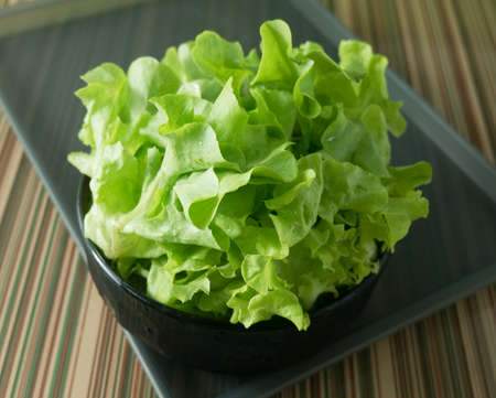 Vegetable, Delicious Fresh Green Lettuce Leaves in A Black Bowl on A Tray. photo