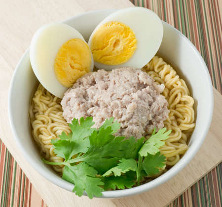instant ramen: Cuisine and Food, Delicious Asian Ramen Instant Noodles with Pork and Boiled Egg in White Bowl.