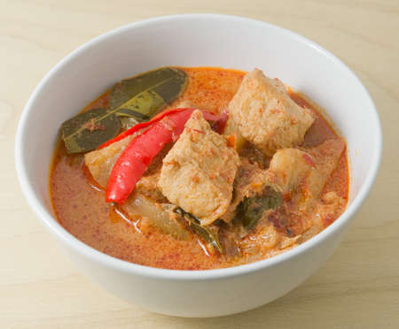ersatz: Vegan Food, Delicious Thai Spicy Red Curry with Textured Vegetable Protein, Pineapple and Coconut Milk. Stock Photo