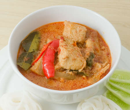 ersatz: Vegan Food, Thai Red Curry with Textured Vegetable Protein, Pineapple and Coconut Milk. Stock Photo
