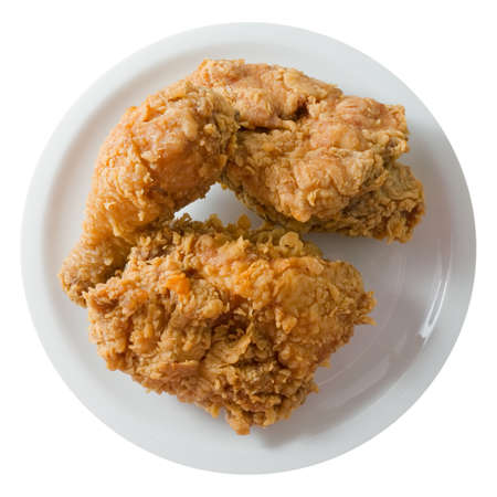 Cuisine and Food, A Plate of Crispy Fried Chicken Isolated on A White Background.