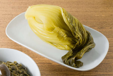 green cabbage: Chinese Traditional Food, Pickled Green Cabbage with Chopped Pickled Chinese Cabbage.