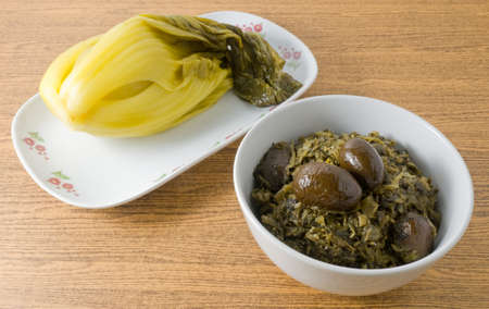 green cabbage: Chinese Traditional Food, Pickled Green Cabbage and Chopped Pickled Chinese Cabbage with Chinese Olives.