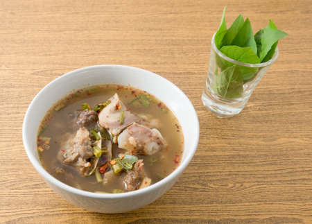 entrails: Thai Cuisine and Food, A Bowl of Clear Spicy Hot and Sour Soup with Beef Entrails.