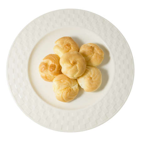 choux bun: Snack and Dessert, Top View of Homemade Choux Cream or Choux Dough Stuffed With Custard Cream Isolated on White Background. Stock Photo