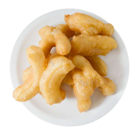 patongkoh: Snack and Dessert, Top View of Chinese Traditional Snacks Deep Fried Doughstick on A White Plate. Stock Photo