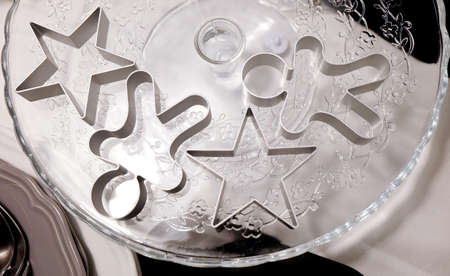 glass cutter: Baking Tools & Utensils, Star and Ginger Bread Man Cookie Cutter on Glass Cake Stand Preparing for Special Occasions.