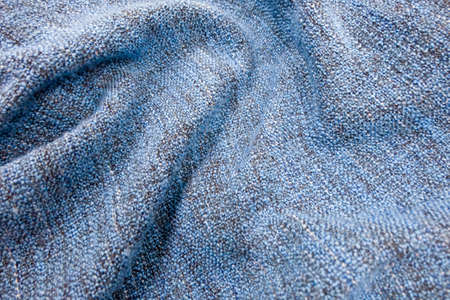 netty: Fabric Texture, Close Up of Blue Cozy Blanket Fabric Texture Pattern.