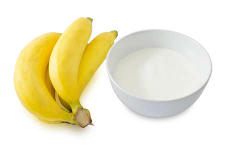 riboflavin: Bowl of Homemade Yoghurt with Ripe Banana, Nutritionally Rich in Protein, Calcium, Riboflavin, Vitamin B6 and Vitamin B12.