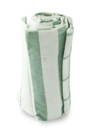 servilleta de papel: Utensilios de cocina, blanco y verde de la servilleta, servilleta o una toalla de cocina aislado en el fondo blanco.