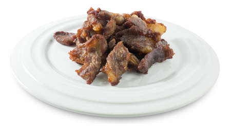 Thai Cuisne, Beef Jerky or Deep Fried Marinated Beef Isolated on A White Background.