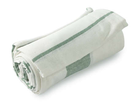 servilleta de papel: Kitchen Utensil, White and Green Napkin, Serviette or Kitchen Towel Isolated on White Background.