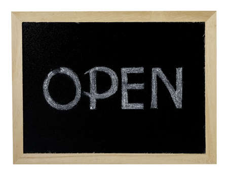 Open Sign Written In Chalk On A Black Chalkboard Frame. Display Text Lets Customers Know Retail and Services Are Open for Business.
