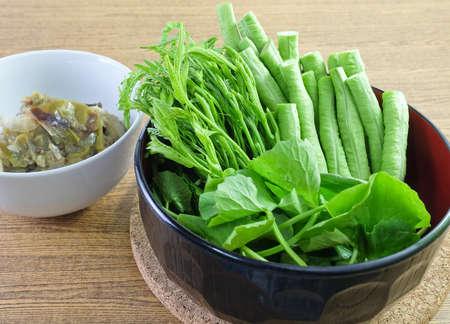 Vegetable, Bowl of Fresh Green Cowpeas, Leucaena Leucocephala and Gotu Kola Leaves with Green Chili Paste.