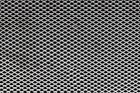 tile pattern: Background Pattern, Horizontal Texture of Metallic Gray Perforated Grid with Copy Space for Text Decorated. Stock Photo