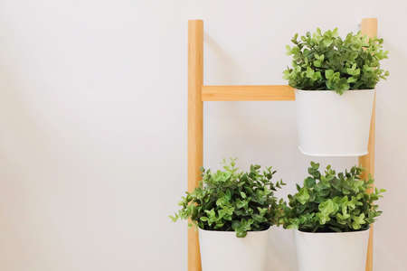 office flower pots. Artificial Green Plants In A White Metal Flower Pots Stand On The Wooden Shelves, For Office