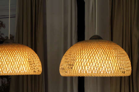 lamp shade: Beautiful Design of Luxury Woven Bamboo Lighting Pendant Lamp or Hanging Ceiling Lamp in The Dinning Room.