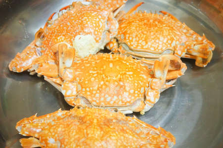 Cuisine and Food, Steamed Blue Crab. One of The Most Famous Seafood in The World.