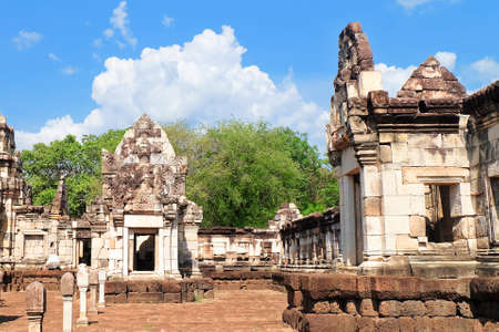 Prasat Sdok Kok Thom The Historical Park in Thailand with Shiva Lingam Pole, Is An Ancient Khmer Hindu Temple Dedicated Shiva Made From Red Laterite Brick and Sandstone.