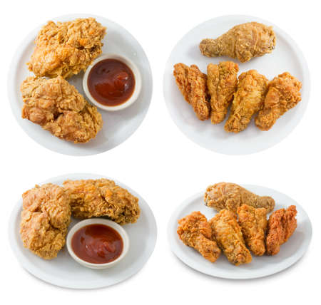 Cuisine and Food, Top View of Crispy Fried Chicken Wings Isolated on A White Background.