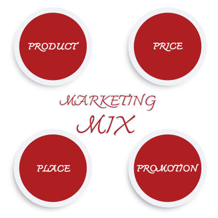 Business Concepts, Illustration of Marketing Mix or 4Ps Model for Management Strategy Diagram in Red Colors. A Foundation Concept in Marketing. Stock Photo
