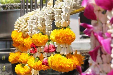 Beautiful Jasmine Wreaths or Garlands with Yellow Marigold Flowers, The Garland in Thai Tradition Style Used to Pay Respect to The Buddha.