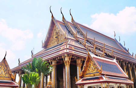 The Roof of Chapel in Wat Phra Kaew Temple and The Grand Palace at Bangkok, Thailand. Stock Photo