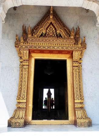 Travelers at Bangkok City Pillar Shrine or San Lak Mueang at Bangkok, Thailand. Stock Photo