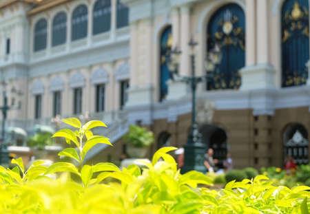 Beautiful Lawn and Garden at Chakri Maha Prasat Throne Hall in Wat Phra Kaew Temple and The Grand Palace at Bangkok, Thailand.