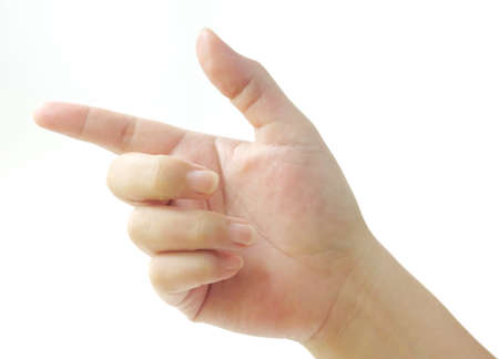 Hand Signs, Person Pressing, Pointing or Touching Hand on Something with Index Finger Isolated on White Stok Fotoğraf