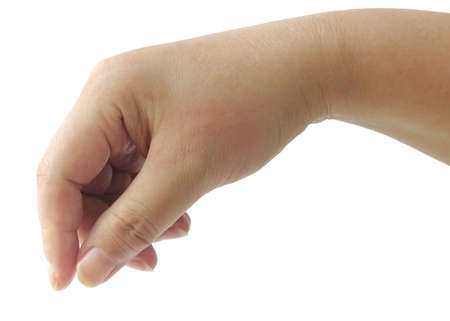 Close Up Hand Reaching for Picking Up or Giving Something Isolated on White