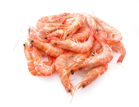 Cuisine and Food, Cooked Prawns or Tiger Shrimps in White Tray. Stock fotó