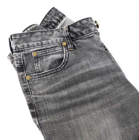 Fabric Texture, Close Up of Black Denim Jean Isolated On A White