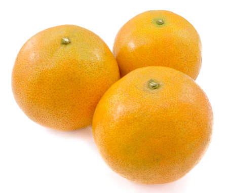 Three Ripe and Sweet Oranges on white Stok Fotoğraf