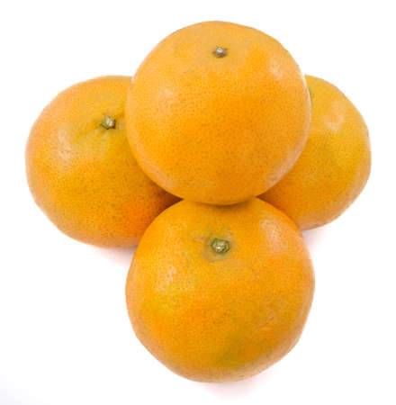 Four Ripe and Sweet Oranges on A Wooden Table, Orange Is The Fruit of The Citrus Species Isolated on White Background.