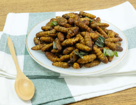 Cuisine and Food, Thai Traditional Deep Fried Marinated Coconut Worms with Herbs on A White Dish. Stock Photo