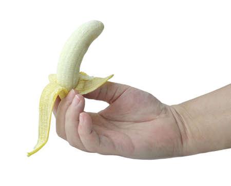 Fresh Fruit, Hand HoldingRipe and Sweet Banana Isolated on A White Background.